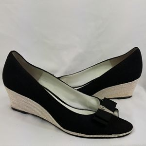 Etienne Aigner peep toe bow wedge size 8